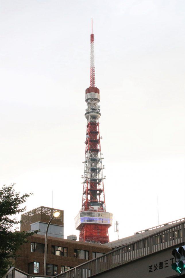 曇りの日に遠くに見える東京タワー。特別展望台は工事中で大展望台のみ公開中
