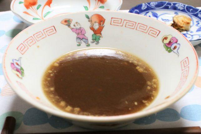 ラーメン鉢にスープだけが残った、阿藻珍味「あもちんの尾道ラーメン」