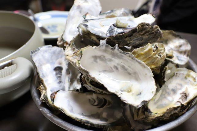 おばあと二人で食べた蒸し牡蠣の殻の山
