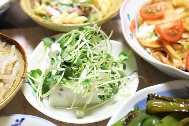 枝豆豆腐(ブロッコリースプライト乗せ)
