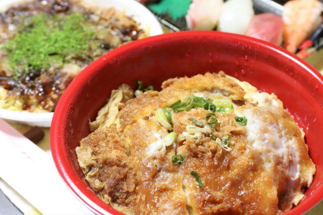 カツ丼とお好み焼きと寿司