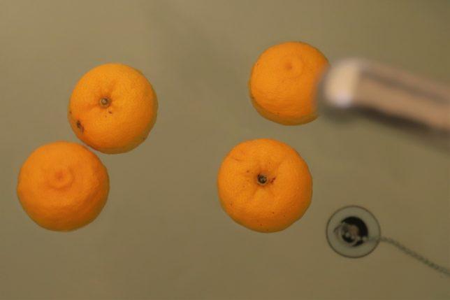 冬至に風呂に柚子を浮かべているところ