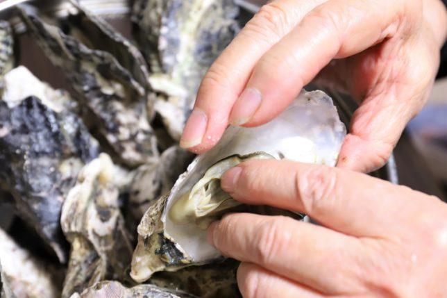 手づかみで蒸し牡蠣を食べる祖母