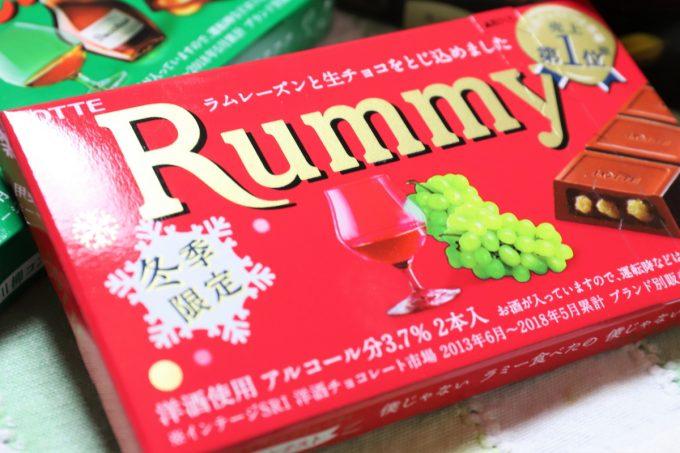 ロッテのラムレーズン入りチョコレート、ラミー(Rummy)の外箱