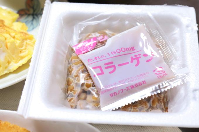 タカノフーズ「発酵コラーゲン納豆」のフタを開けたところ