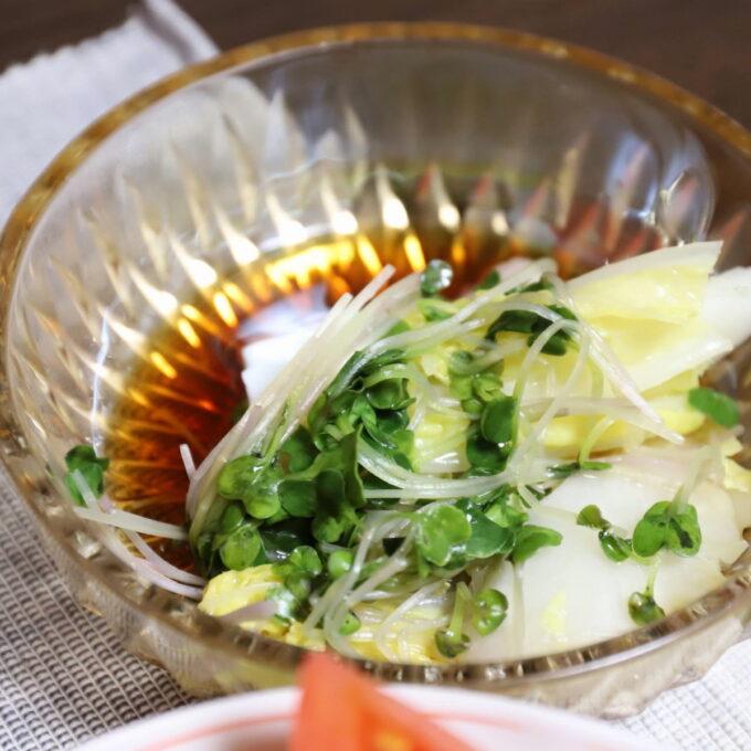白菜とカイワレ大根の水炊きを取り皿に入れて味ぽんに浸しているところ