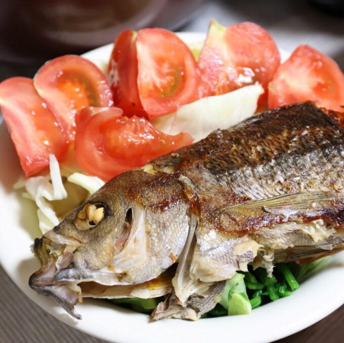 トマトなどのサラダと一緒にワンプレートに盛りつけた焼き魚
