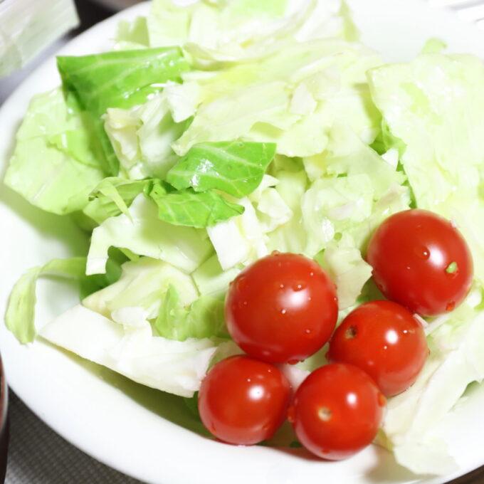 皿に盛られたキャベツとミニトマトのサラダ